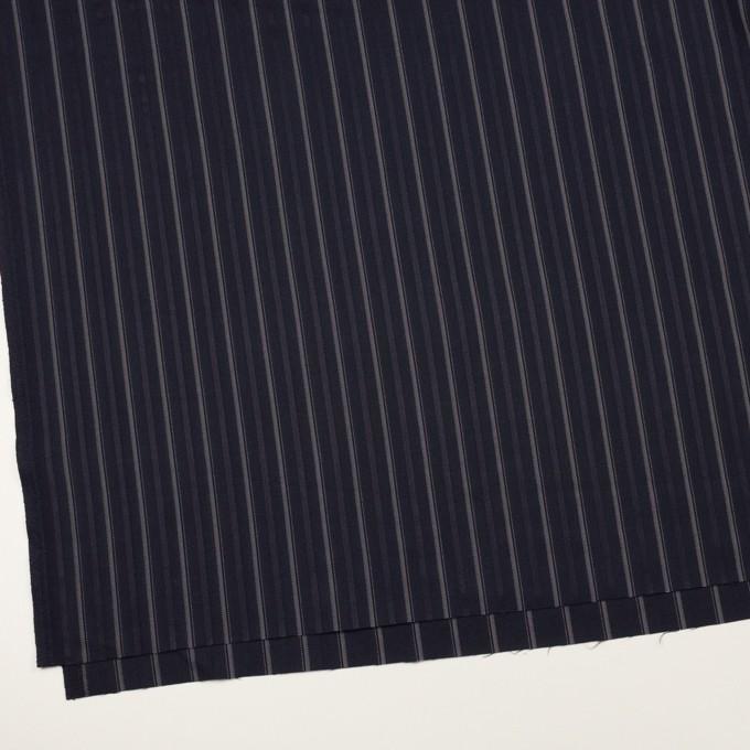 ポリエステル&レーヨン混×ストライプ(ネイビー)×ジャガード・ストレッチ イメージ2