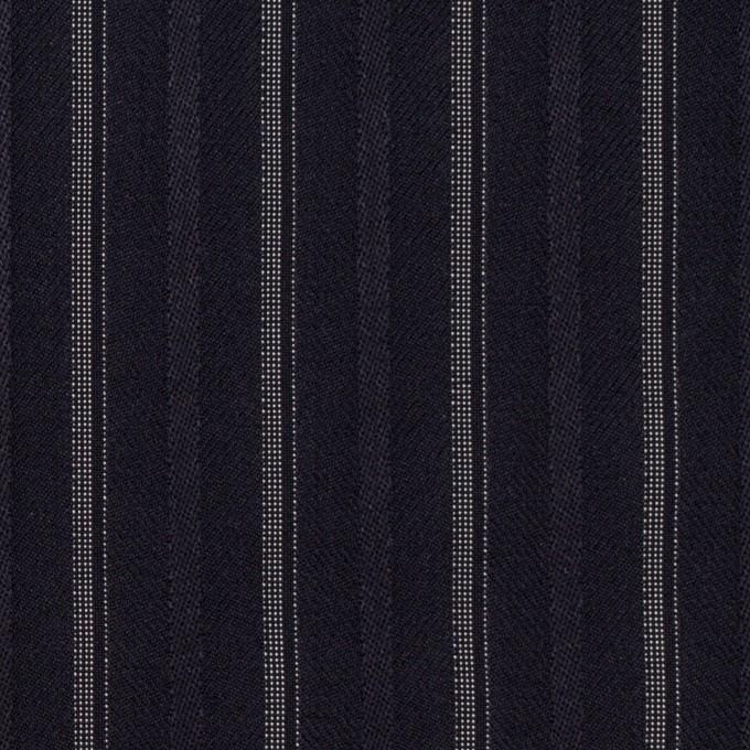 ポリエステル&レーヨン混×ストライプ(ネイビー)×ジャガード・ストレッチ イメージ1