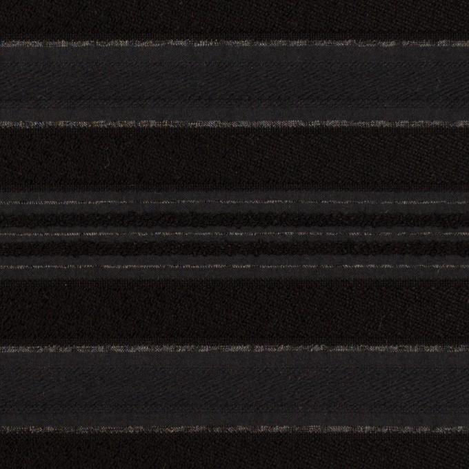 ポリエステル&レーヨン×ボーダー(チャコール&ブラック)×ジャガード イメージ1