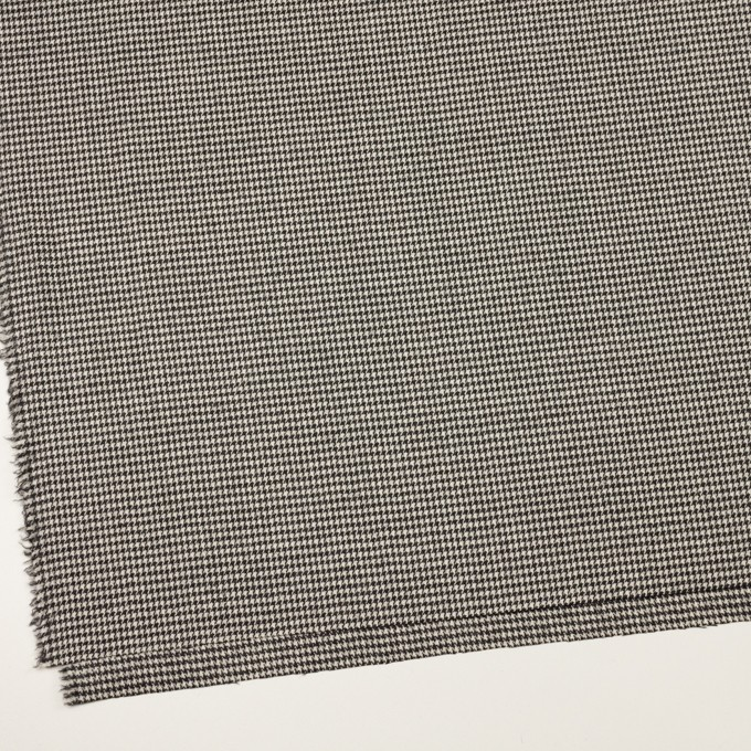 ウール&ポリウレタン×チェック(エクリュ&チャコールブラック)×千鳥格子ストレッチ イメージ2