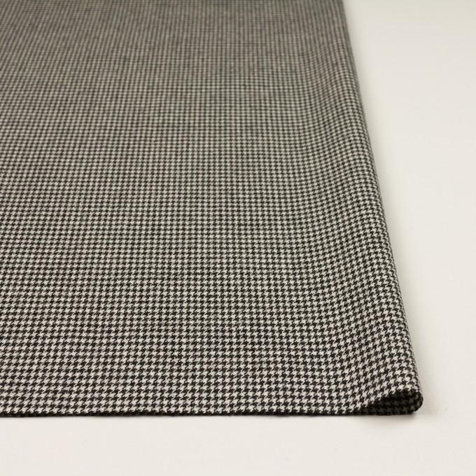 ウール&ポリウレタン×チェック(エクリュ&チャコールブラック)×千鳥格子ストレッチ イメージ3