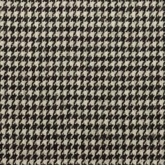 ウール&ポリウレタン×チェック(エクリュ&チャコールブラック)×千鳥格子ストレッチ サムネイル1