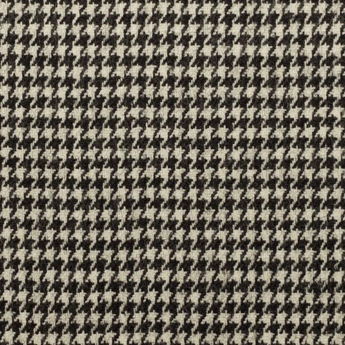 ウール&ポリウレタン×チェック(エクリュ&チャコールブラック)×千鳥格子ストレッチ イメージ1
