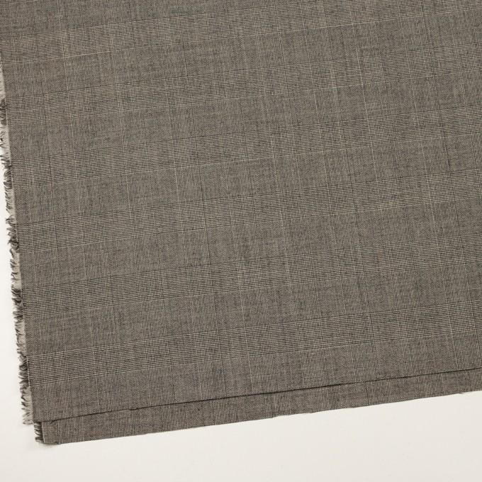 ウール×チェック(エクリュ&チャコール)×かわり織 イメージ2