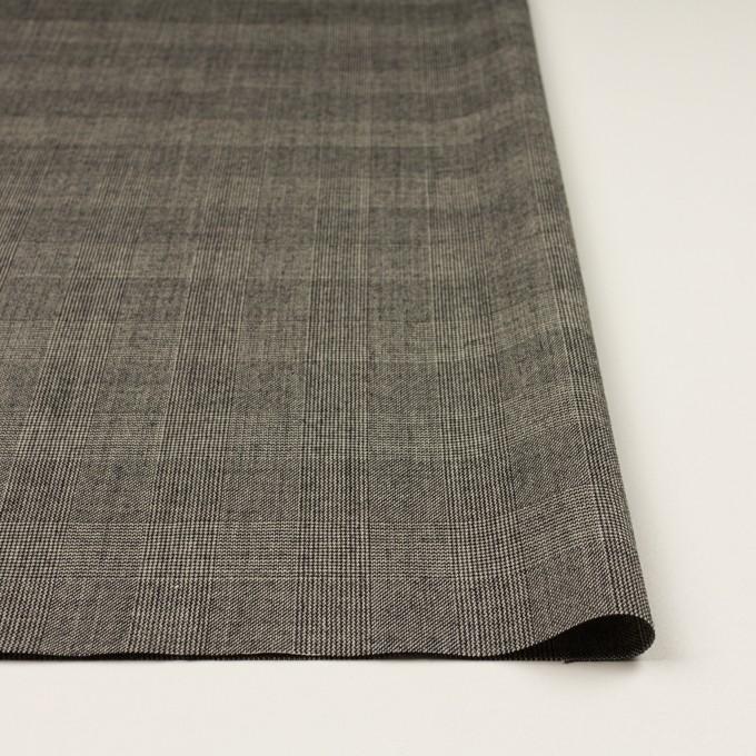 ウール×チェック(エクリュ&チャコール)×かわり織 イメージ3