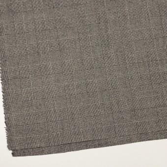 ウール&ポリウレタンチェック(エクリュ&チャコール)×かわり織ストレッチ サムネイル2