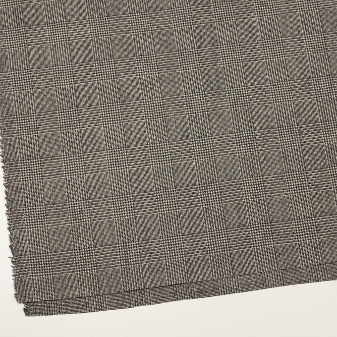 ウール&ポリウレタンチェック(エクリュ&チャコール)×かわり織ストレッチ イメージ2