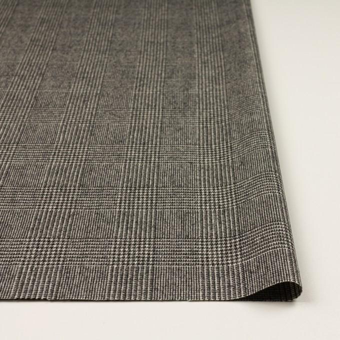 ウール&ポリウレタンチェック(エクリュ&チャコール)×かわり織ストレッチ イメージ3