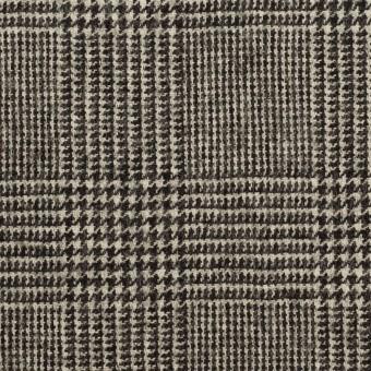 ウール&ポリウレタンチェック(エクリュ&チャコール)×かわり織ストレッチ サムネイル1
