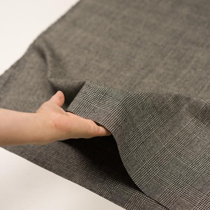 ウール&ポリウレタンチェック(エクリュ&チャコール)×かわり織ストレッチ イメージ5