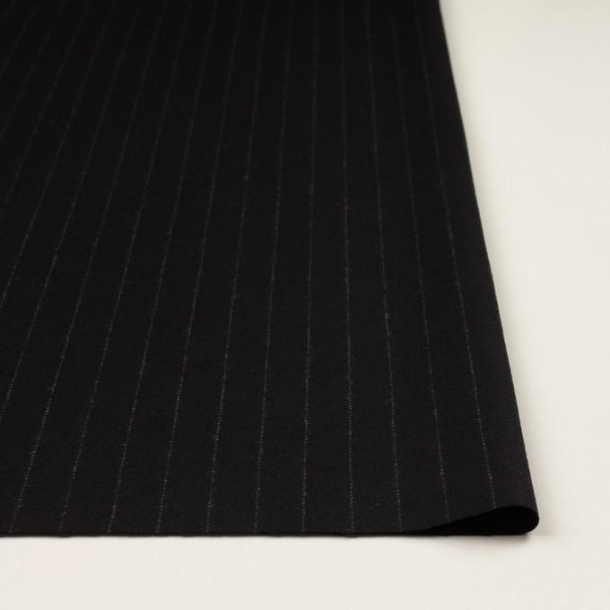 ウール&ポリウレタン×ストライプ(ブラック)×サージストレッチ イメージ3