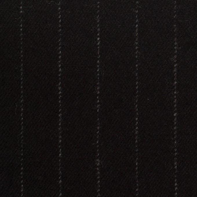 ウール&ポリウレタン×ストライプ(ブラック)×サージストレッチ イメージ1