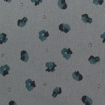 ポリエステル×フラワー(ブルーグレー&バルビゾンブルー)×デシン_全2色