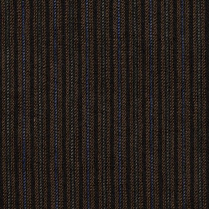 コットン&ウール×ストライプ(ブラウン&ダークネイビー)×ビエラ イメージ1