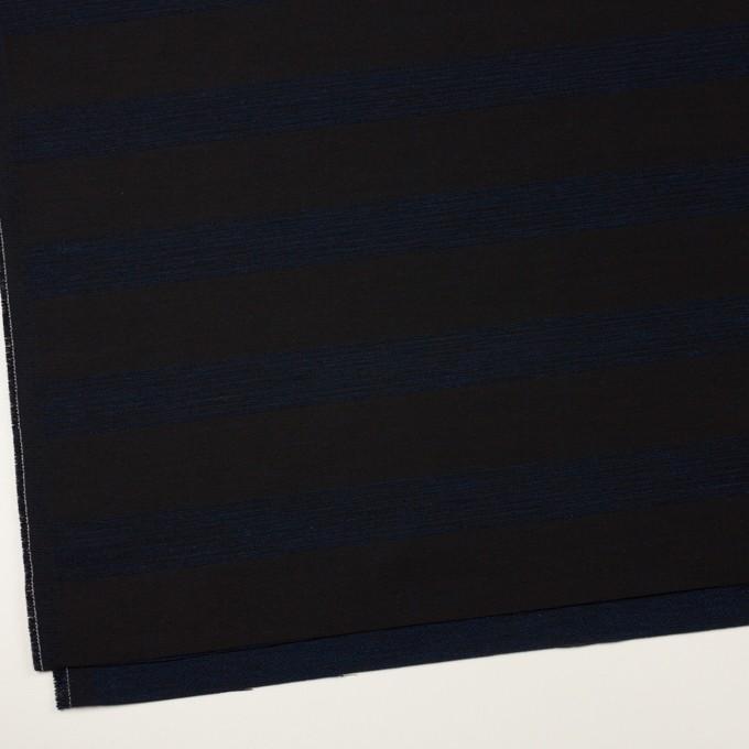 ウール&コットン混×ボーダー(プルシアンブルー&チャコールブラック)×ジャガード_全2色 イメージ2