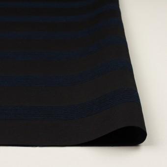 ウール&コットン混×ボーダー(プルシアンブルー&チャコールブラック)×ジャガード_全2色 サムネイル3