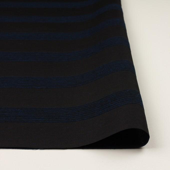 ウール&コットン混×ボーダー(プルシアンブルー&チャコールブラック)×ジャガード_全2色 イメージ3