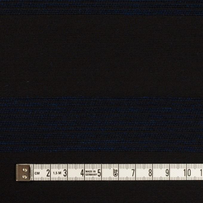 ウール&コットン混×ボーダー(プルシアンブルー&チャコールブラック)×ジャガード_全2色 イメージ4
