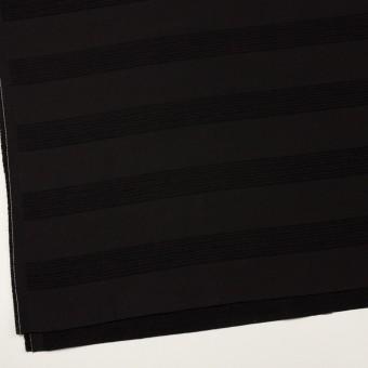 ウール&コットン混×ボーダー(ブラック&チャコールブラック)×ジャガード_全2色 サムネイル2