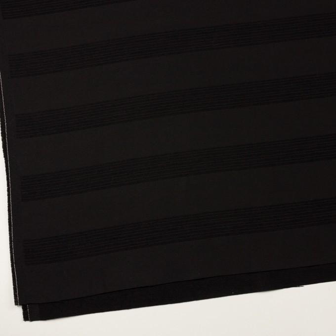 ウール&コットン混×ボーダー(ブラック&チャコールブラック)×ジャガード_全2色 イメージ2
