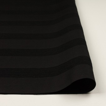 ウール&コットン混×ボーダー(ブラック&チャコールブラック)×ジャガード_全2色 サムネイル3