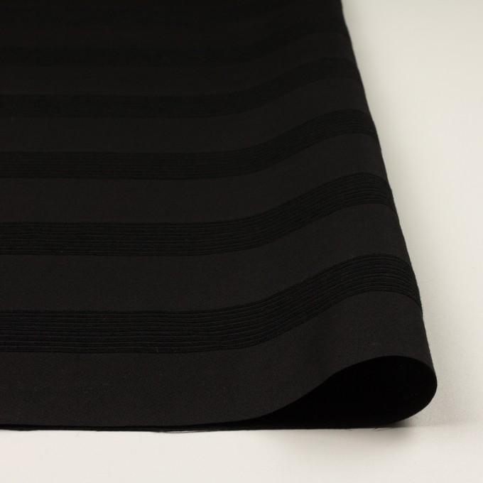 ウール&コットン混×ボーダー(ブラック&チャコールブラック)×ジャガード_全2色 イメージ3
