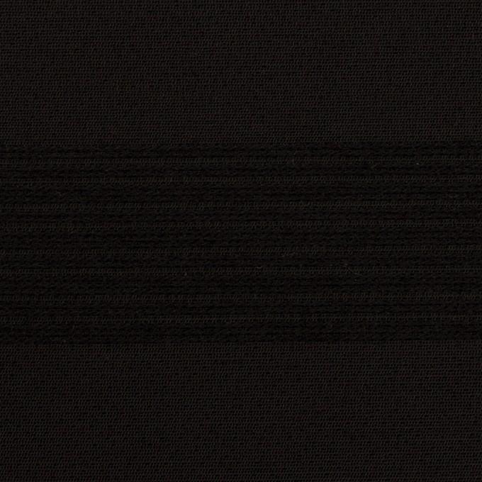 ウール&コットン混×ボーダー(ブラック&チャコールブラック)×ジャガード_全2色 イメージ1