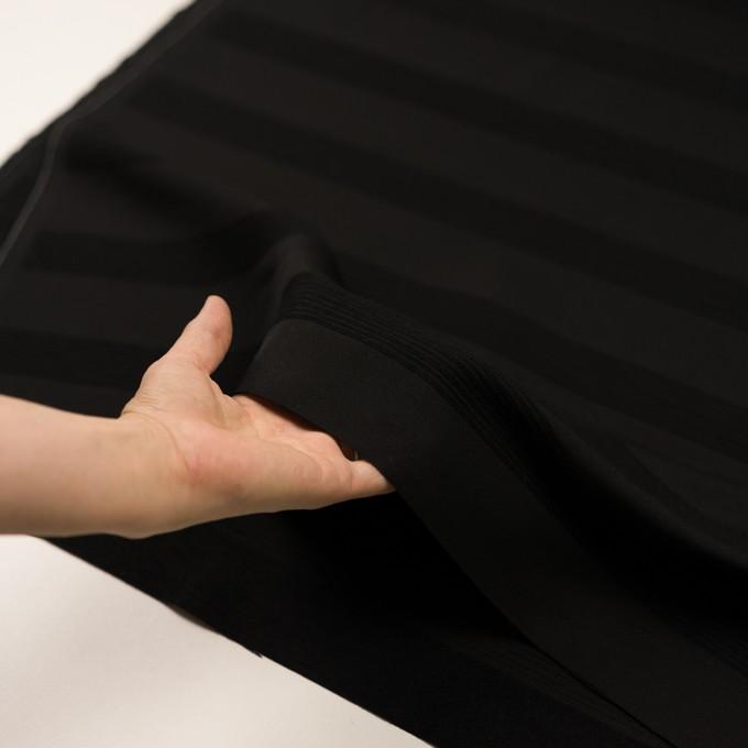 ウール&コットン混×ボーダー(ブラック&チャコールブラック)×ジャガード_全2色 イメージ5