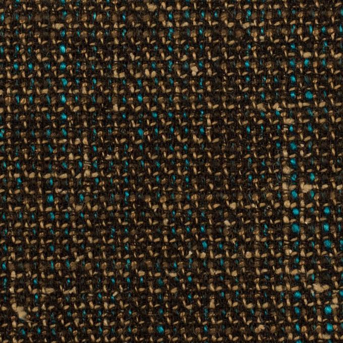 ウール&レーヨン混×ミックス(ダークブラウン、ベージュ&ターコイズ)×ファンシーツイード イメージ1