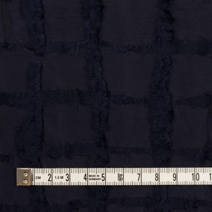 ポリエステル&コットン×チェック(ダークネイビー)×カットジャガードニット イメージ4