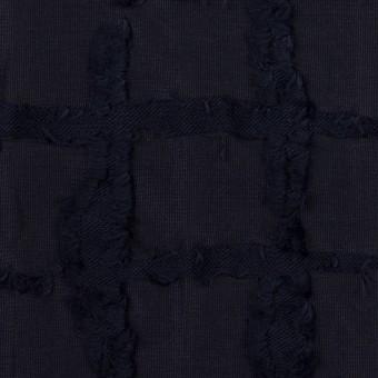 ポリエステル&コットン×チェック(ダークネイビー)×カットジャガードニット サムネイル1