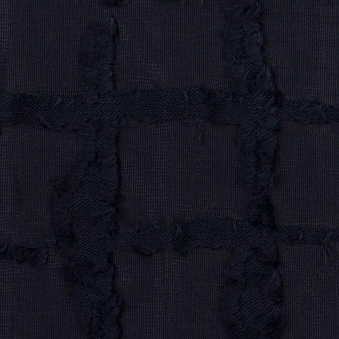 ポリエステル&コットン×チェック(ダークネイビー)×カットジャガードニット イメージ1