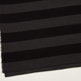 ウール&ナイロン×ボーダー(グレー&ブラック)×Wニット サムネイル2