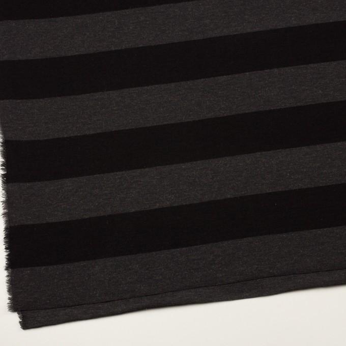 ウール&ナイロン×ボーダー(グレー&ブラック)×Wニット イメージ2