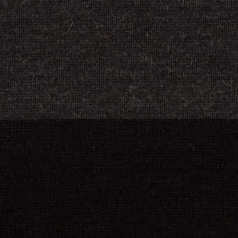 ウール&ナイロン×ボーダー(グレー&ブラック)×Wニット