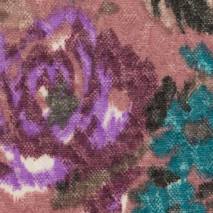 ポリエステル&ウール×フラワー(モーブ)×ジャガードニット_全2色 イメージ1