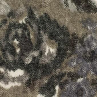 ポリエステル&ウール×フラワー(グレー)×ジャガードニット_全2色