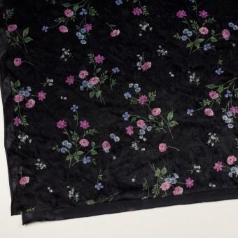 ポリエステル×フラワー(モーブ&ブラック)×ベロアニット_全3色 サムネイル2