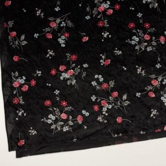 ポリエステル×フラワー(レッド&ブラック)×ベロアニット_全3色 サムネイル2
