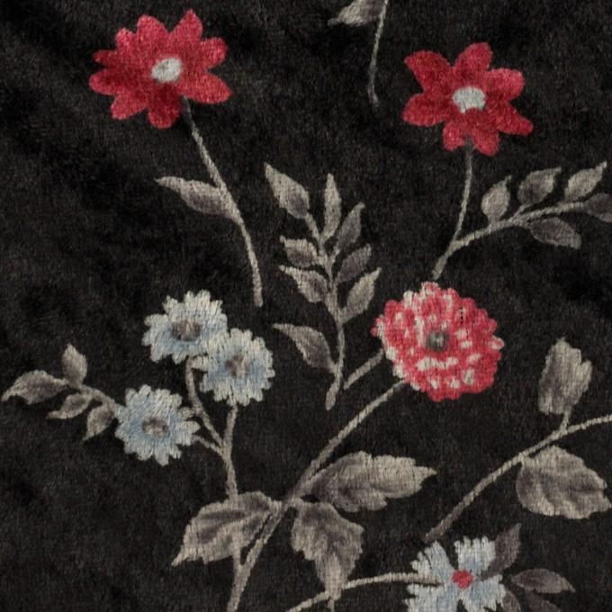 ポリエステル×フラワー(レッド&ブラック)×ベロアニット_全3色 イメージ1