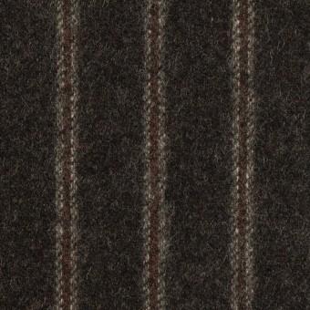 ウール×ストライプ(チャコール&レンガ)×フラノ(フランネル)_全2色