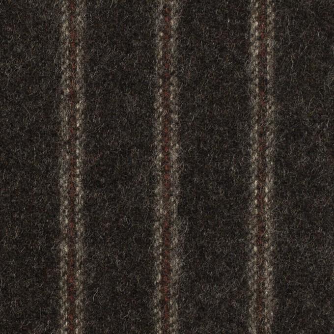 ウール×ストライプ(チャコール&レンガ)×フラノ(フランネル)_全2色 イメージ1