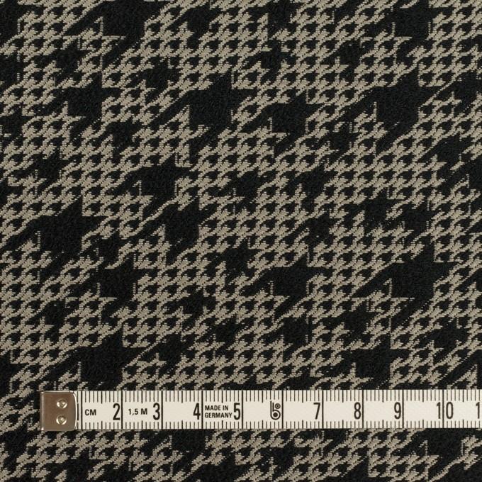 ポリエステル×千鳥格子(ブラック&グレイッシュベージュ)×ジャガード イメージ4