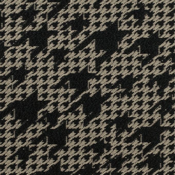 ポリエステル×千鳥格子(ブラック&グレイッシュベージュ)×ジャガード イメージ1