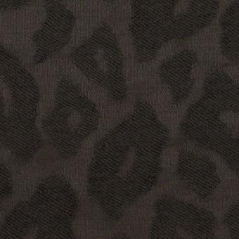 ウール&ナイロン×レオパード(チャコール)×ジャガード