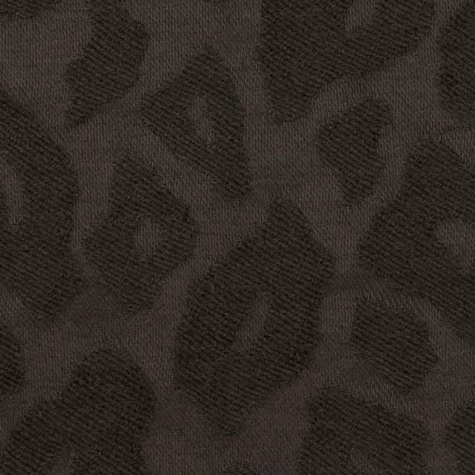 ウール&ナイロン×レオパード(チャコール)×ジャガード イメージ1