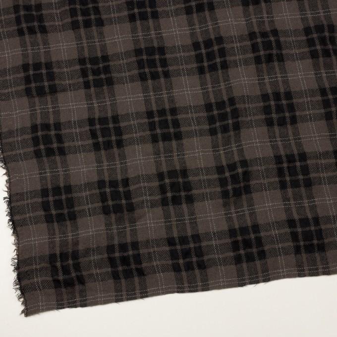 ウール×チェック(アッシュブラウン&ブラック)×ガーゼ イメージ2