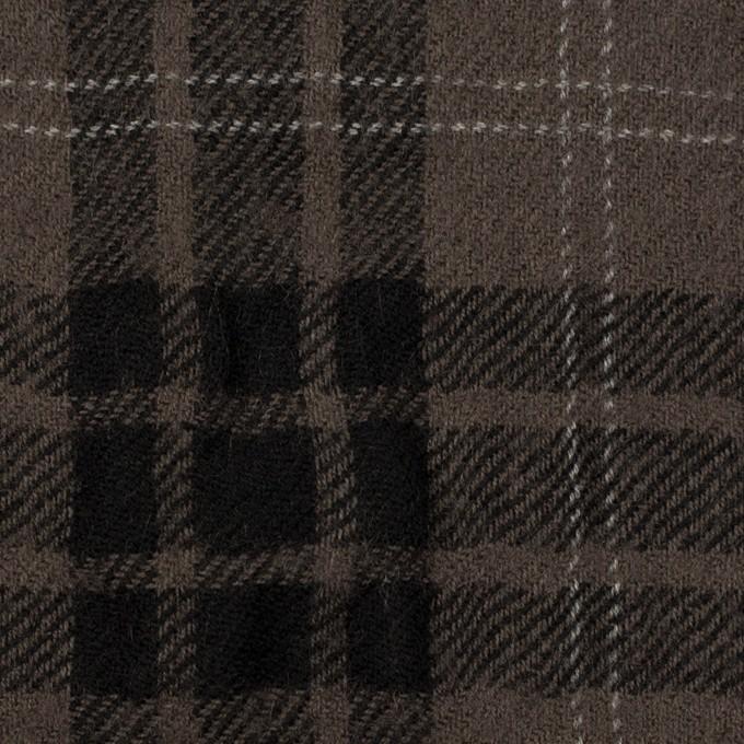 ウール×チェック(アッシュブラウン&ブラック)×ガーゼ イメージ1