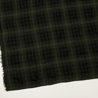 ウール×チェック(カーキグリーン&ブラック)×ガーゼ サムネイル2