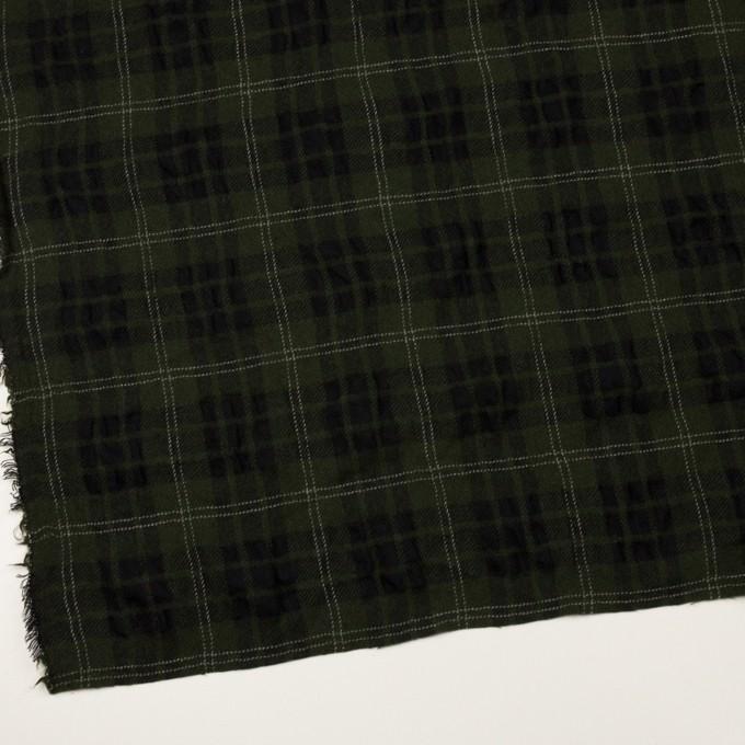 ウール×チェック(カーキグリーン&ブラック)×ガーゼ イメージ2